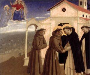 Rencontre de saint François et de saint Dominique, gloires de Bologne - Fra Angelico